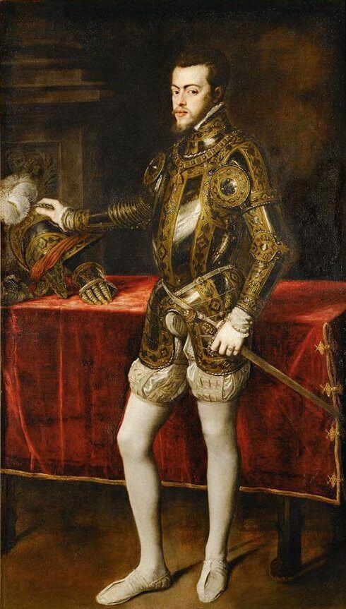 portrait of philip ii in armor 1550 by titian