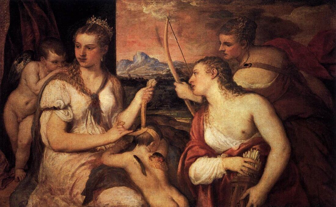 Venus Blindfolding Cupid, 1565 by Titian