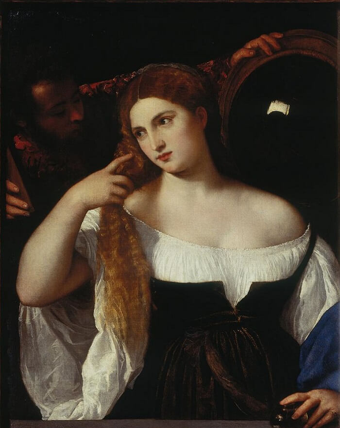woman with a mirror 1512 15 by titian